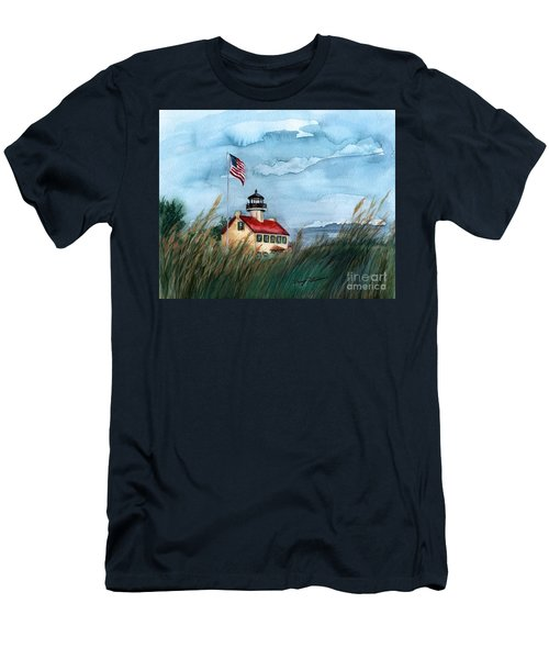 A New Day At East Point Lighthouse Men's T-Shirt (Slim Fit) by Nancy Patterson