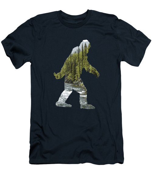 A Sasquatch Bigfoot Silhouette In The Wild River Rapids Men's T-Shirt (Athletic Fit)