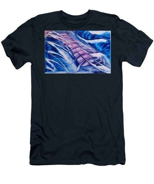 Abstract Blue With Pink Centre Men's T-Shirt (Athletic Fit)