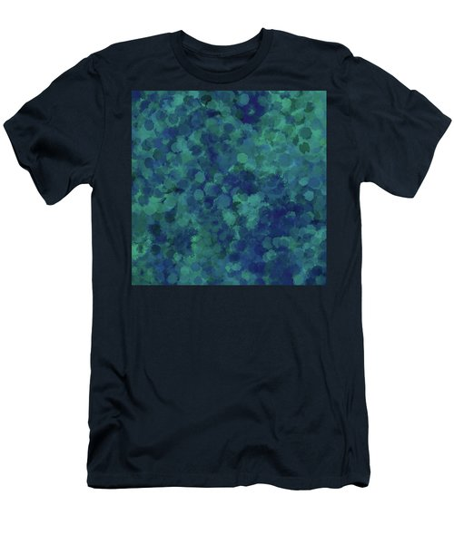 Men's T-Shirt (Athletic Fit) featuring the mixed media Abstract Blues 1 by Clare Bambers