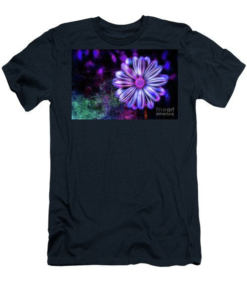 Abstract Glowing Purple And Blue Flower Men's T-Shirt (Athletic Fit)