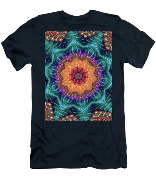 Men's T-Shirt (Athletic Fit) featuring the digital art Abstract Kaleidoscope Art With Wonderful Colors by Matthias Hauser