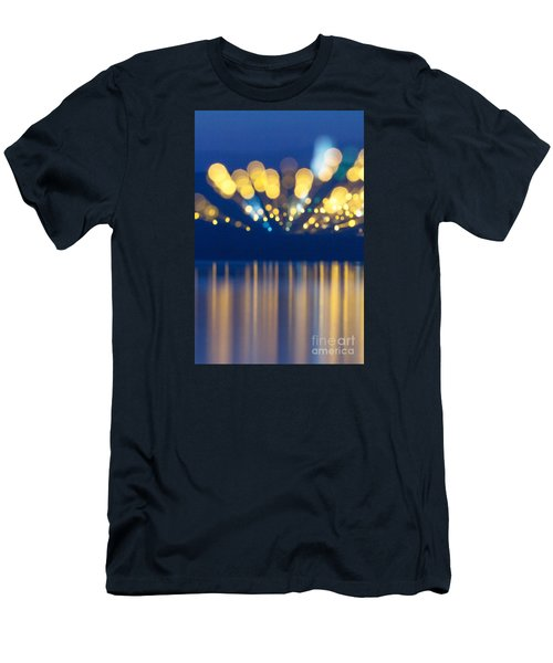 Men's T-Shirt (Slim Fit) featuring the photograph Abstract Light Texture With Mirroring Effect by Odon Czintos