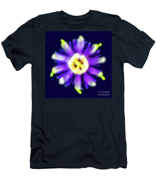 Abstract Passion Flower In Violet Blue And Green 002b Men's T-Shirt (Athletic Fit)