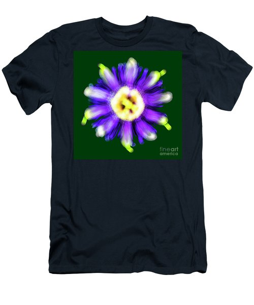 Abstract Passion Flower In Violet Blue And Green 002g Men's T-Shirt (Athletic Fit)