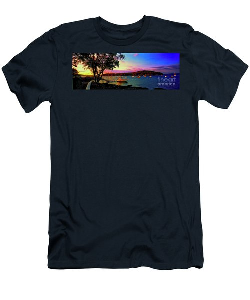 Men's T-Shirt (Athletic Fit) featuring the photograph  Acadia Bar Harbor Sunset Cruises.tif by Tom Jelen