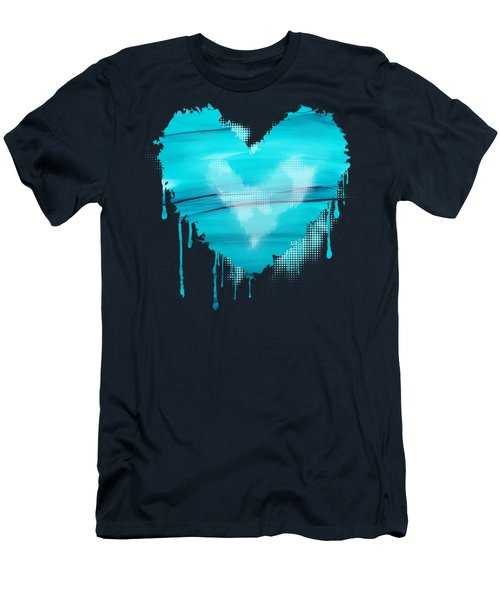 Men's T-Shirt (Slim Fit) featuring the painting Adrift In A Sea Of Blues Abstract by Nikki Marie Smith