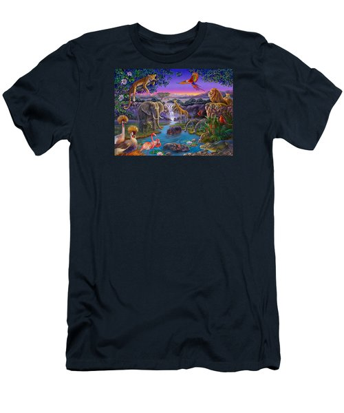 African Animals At The Water Hole Men's T-Shirt (Athletic Fit)