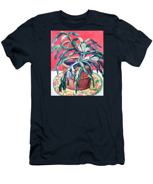 Christmas Cactus Men's T-Shirt (Slim Fit) by Laura Aceto