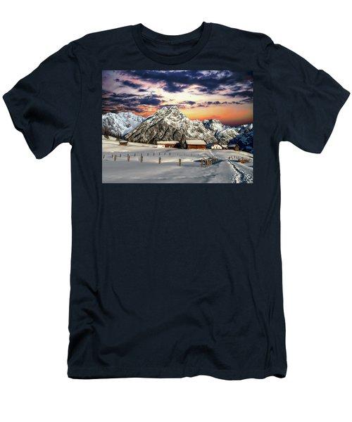 Alpine Winter Scene Men's T-Shirt (Athletic Fit)
