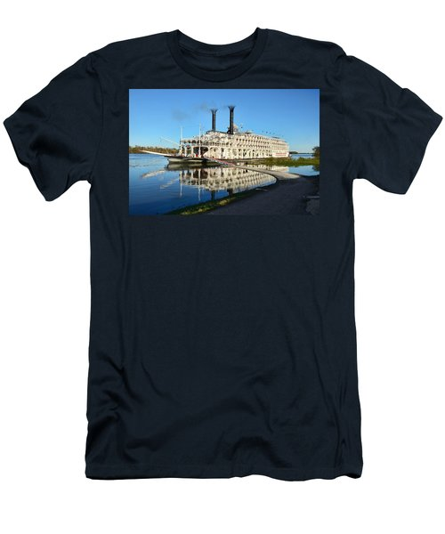 American Queen Steamboat Reflections On The Mississippi River Men's T-Shirt (Slim Fit) by David Lawson