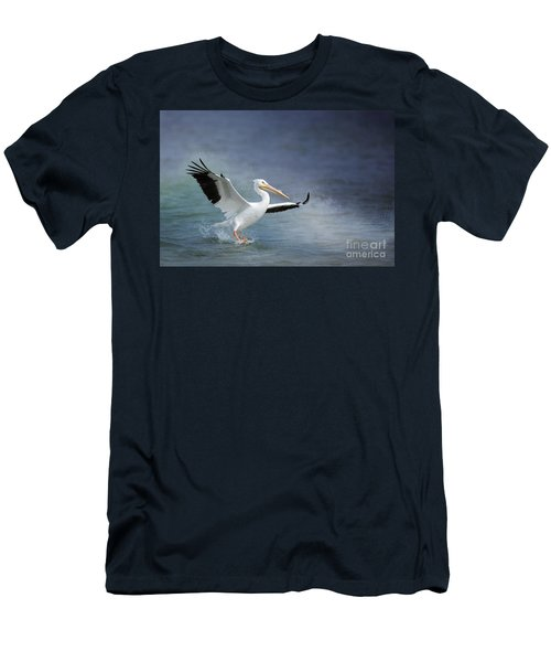 American White Pelican  Men's T-Shirt (Slim Fit) by Bonnie Barry