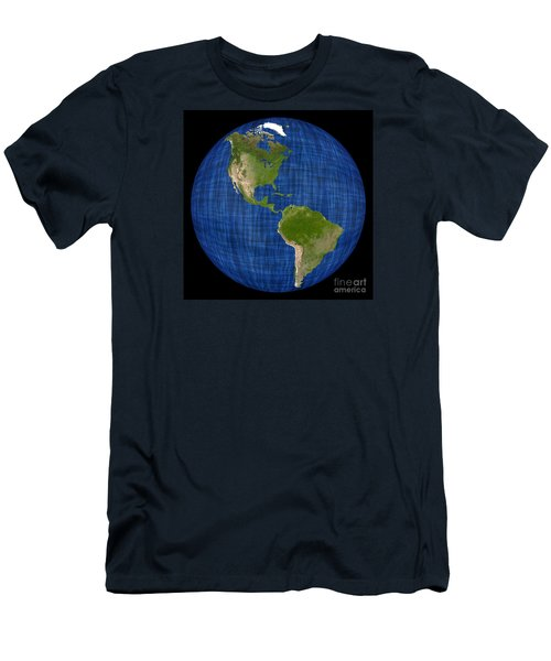 Americas On A Globe The Western Hemisphere Men's T-Shirt (Slim Fit) by Wernher Krutein