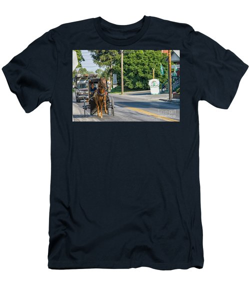 Men's T-Shirt (Slim Fit) featuring the photograph Amish Girl On The Road by Patricia Hofmeester