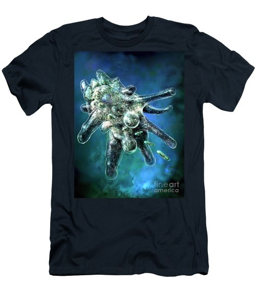 Men's T-Shirt (Slim Fit) featuring the digital art Amoeba Blue by Russell Kightley