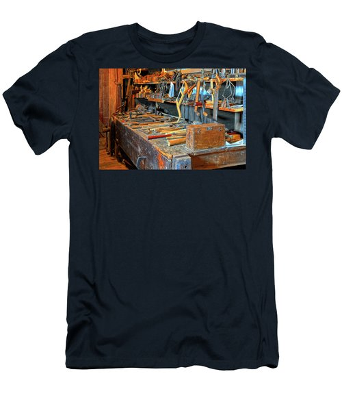 Antique Tool Bench Men's T-Shirt (Slim Fit) by Dave Mills