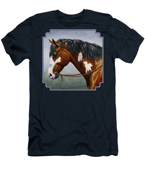 Bay Native American War Horse Men's T-Shirt (Slim Fit) by Crista Forest