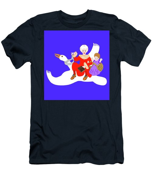 Mother Goose On Her Flying Goose Men's T-Shirt (Athletic Fit)