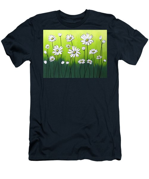 Men's T-Shirt (Slim Fit) featuring the painting Daisy Crazy by Teresa Wing