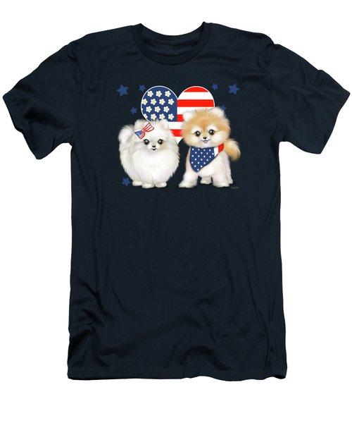 Patriotic Pomeranians Men's T-Shirt (Athletic Fit)
