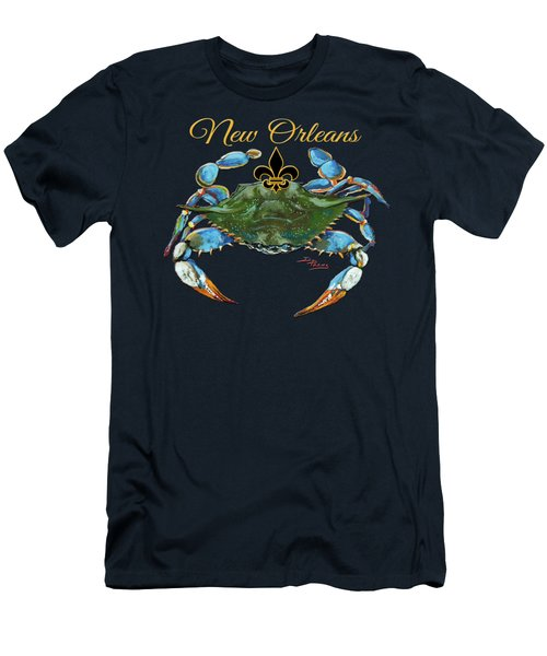 Men's T-Shirt (Slim Fit) featuring the painting Louisiana Blue On Red by Dianne Parks