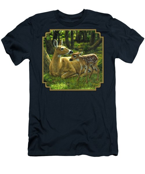 Whitetail Deer - First Spring Men's T-Shirt (Slim Fit) by Crista Forest