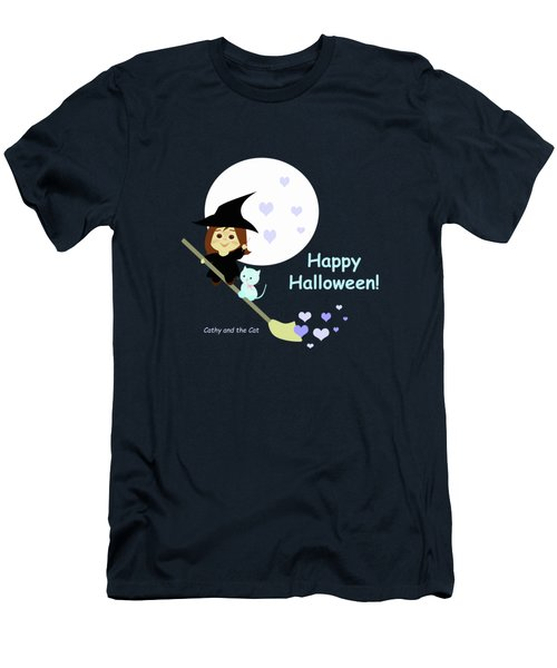 Cathy And The Cat Enjoy Halloween Men's T-Shirt (Athletic Fit)