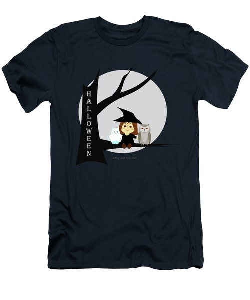 Cathy And The Cat Enjoy Halloween #2 Men's T-Shirt (Athletic Fit)