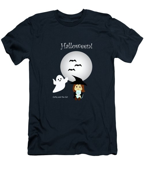 Cathy And The Cat Enjoy Halloween #4 Men's T-Shirt (Athletic Fit)