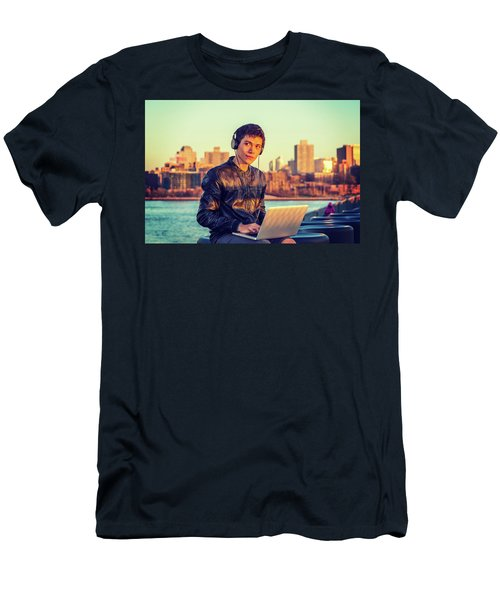 Asian American College Student Traveling, Studying In New York Men's T-Shirt (Athletic Fit)
