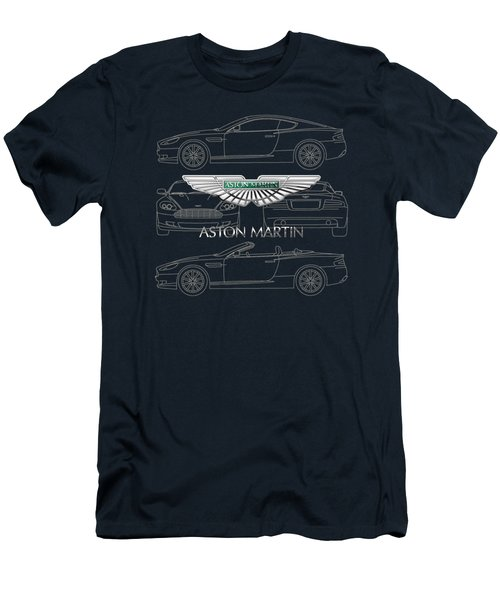 Aston Martin 3 D Badge Over Aston Martin D B 9 Blueprint Men's T-Shirt (Athletic Fit)