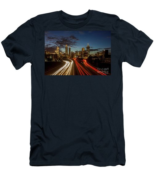 Men's T-Shirt (Slim Fit) featuring the photograph Atlanta Downtown Infusion Atlanta Sunset Cityscapes Art by Reid Callaway