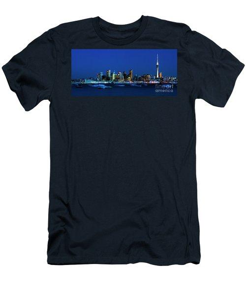Auckland City Night Lights Men's T-Shirt (Slim Fit) by Karen Lewis