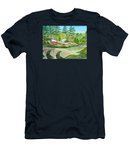 Men's T-Shirt (Athletic Fit) featuring the painting Augusta National Golf Course 12th Hole by Bill Holkham