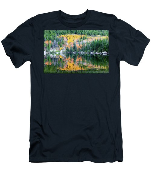 Men's T-Shirt (Athletic Fit) featuring the photograph Autumn Mirror At Bear Lake by David Chandler