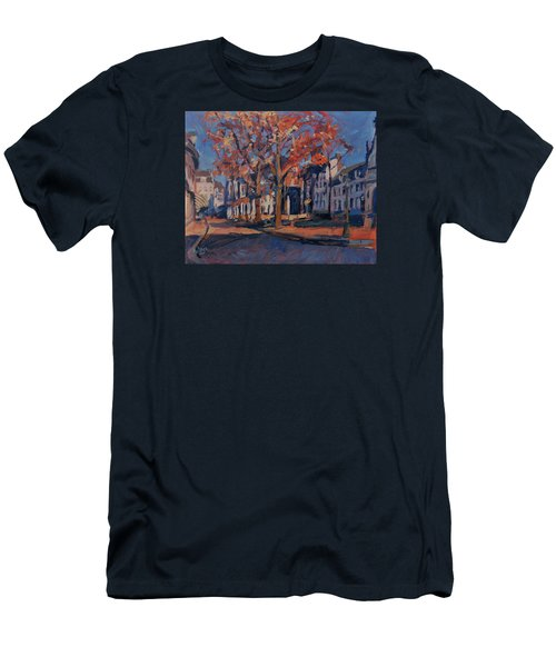 Men's T-Shirt (Slim Fit) featuring the painting Autumn On The Square Of Our Lady Maastricht by Nop Briex