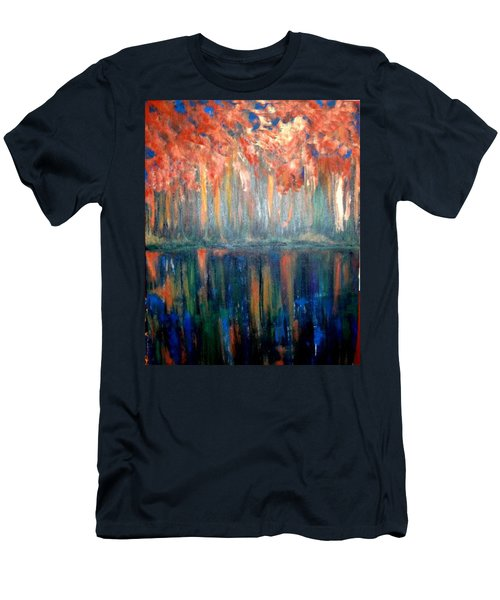 Men's T-Shirt (Slim Fit) featuring the painting Autumn Reflections by Rae Chichilnitsky