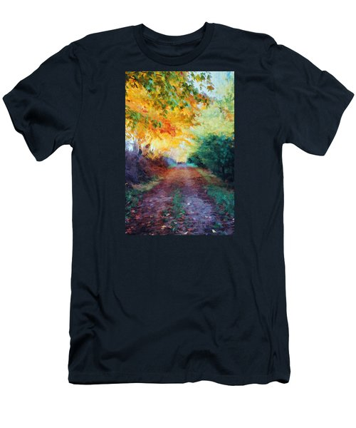 Men's T-Shirt (Slim Fit) featuring the photograph Autumn Road by Diane Alexander