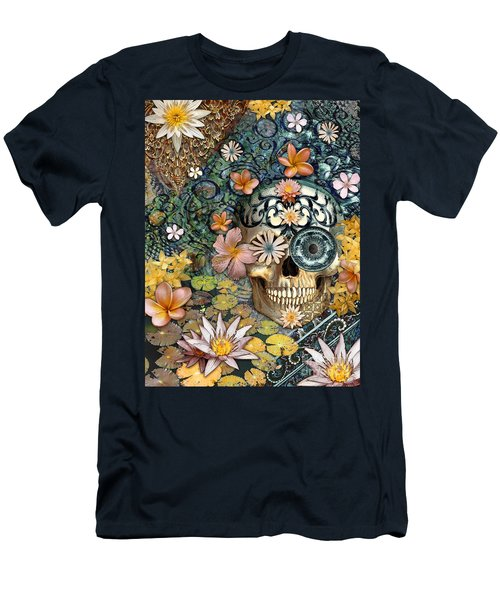 Bali Botaniskull - Floral Sugar Skull Art Men's T-Shirt (Slim Fit) by Christopher Beikmann