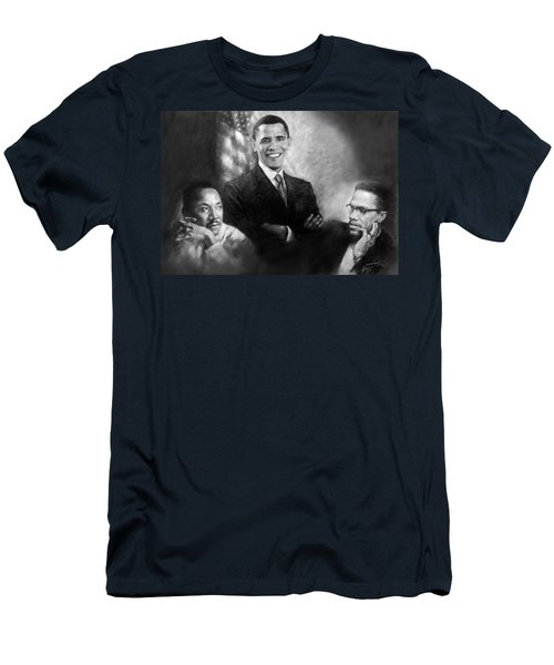 Barack Obama Martin Luther King Jr And Malcolm X Men's T-Shirt (Athletic Fit)