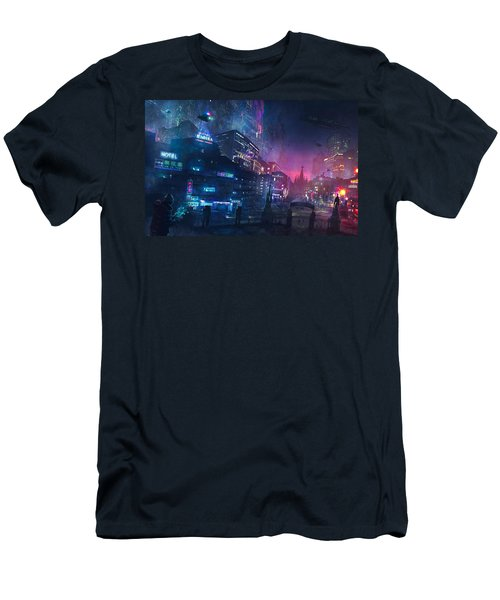 Barcelona Smoke And Neons Sant Pau I La Sagrada Familia Men's T-Shirt (Athletic Fit)
