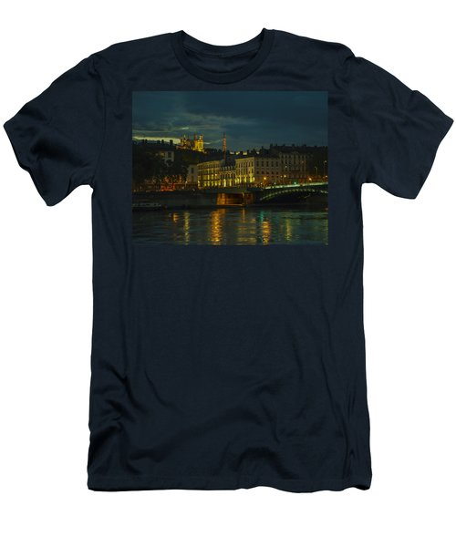Men's T-Shirt (Slim Fit) featuring the photograph Basilica Notre Dame De Fourviere From Across The Rhone River by Allen Sheffield