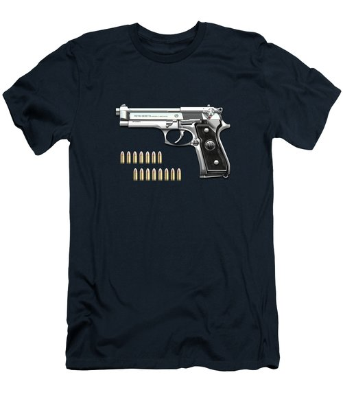 Beretta 92fs Inox With Ammo On Blue Velvet  Men's T-Shirt (Athletic Fit)