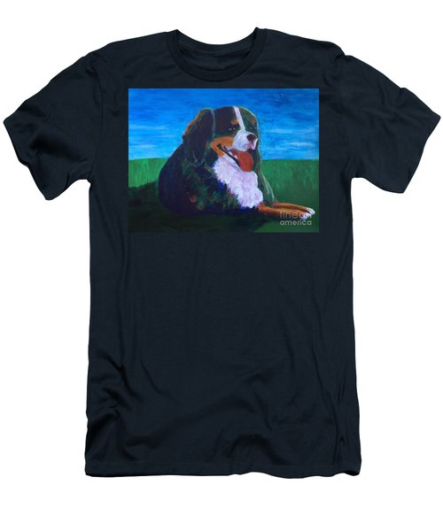 Men's T-Shirt (Slim Fit) featuring the painting Bernese Mtn Dog Resting On The Grass by Donald J Ryker III
