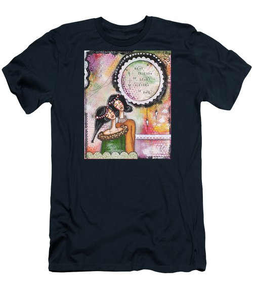 Men's T-Shirt (Slim Fit) featuring the mixed media Best Friends By Heart, Sisters By Soul by Stanka Vukelic