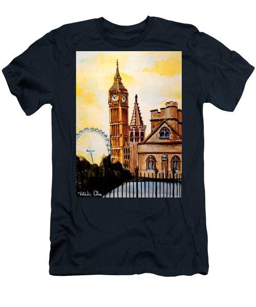 Big Ben And London Eye - Art By Dora Hathazi Mendes Men's T-Shirt (Slim Fit) by Dora Hathazi Mendes