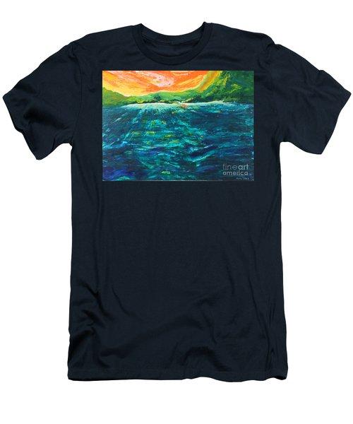 Big Tropical Wave Men's T-Shirt (Athletic Fit)