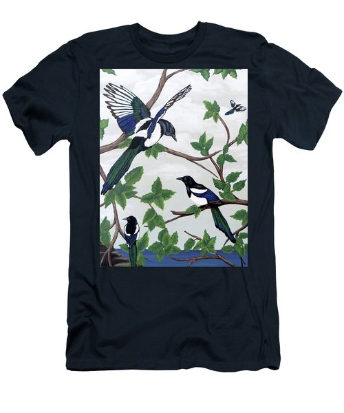 Men's T-Shirt (Slim Fit) featuring the painting Black Billed Magpies by Teresa Wing