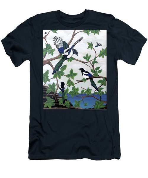 Black Billed Magpies Men's T-Shirt (Athletic Fit)