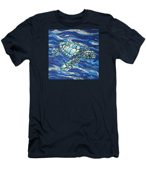 Black Contour Turtle Men's T-Shirt (Slim Fit) by William Love